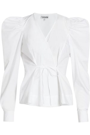 Ganni Women's Cotton Poplin Tie-Front Top - Bright - Size 12