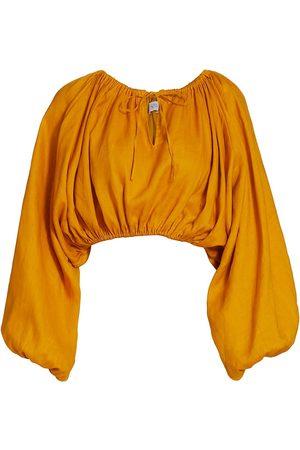 SWF Women's Billowy-Sleeve Asymmetric Linen Top - Safron - Size Small