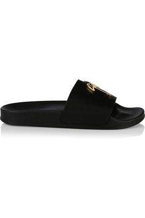 Giuseppe Zanotti Men's Logo Leather Slide Sandals - Nero - Size 12