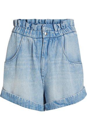 Isabel Marant Women's Itea Denim Paperbag Shorts - - Size 10