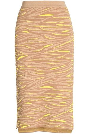 Stella McCartney Women's Tiger-Stripe Jacquard Pencil Skirt - Camel - Size 10