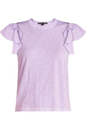 VERONICA BEARD Women's Akeela Ruffle-Sleeve T-Shirt - Lavender - Size Large