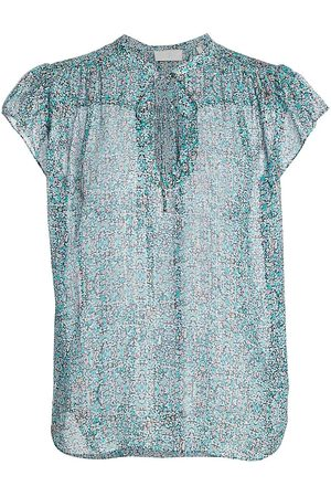 7 for all Mankind Women's Floral Metallic Silk Flutter-Sleeve Blouse - Tiny Florals - Size Small