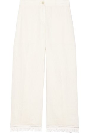THEORY Women's Embroidered Fringe Linen Crop Pants - Ecru - Size 10