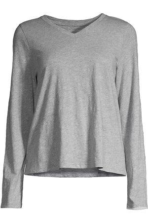 Eileen Fisher Women's Long Sleeve V-Neck Top - Dark Pearl - Size XS