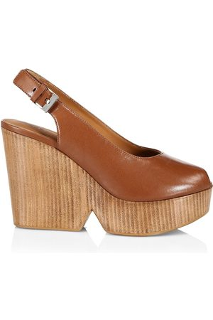 Robert Clergerie Women's Dylan Leather Platform Wedge Slingback Pumps - Wood Nap - Size 9
