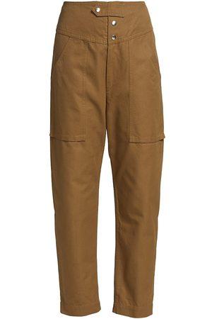 Isabel Marant Women's Lago Cropped Straight-Leg Pants - Khaki - Size 4