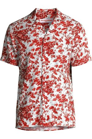 Orlebar Brown Men's Travis Vintage Garden Print Shirt - Rose Vintage - Size XL