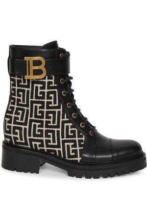 Balmain Women's Romy Monogram Jacquard Leather Combat Boots - Ivory - Size 12