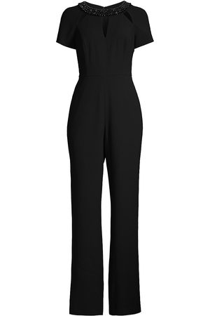 Shani Women's Beaded Collar Crepe Jumpsuit - - Size 6