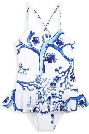 Vilebrequin Little Girl's & Girl's Cherry Blossom Swimsuit - Bleu - Size 6
