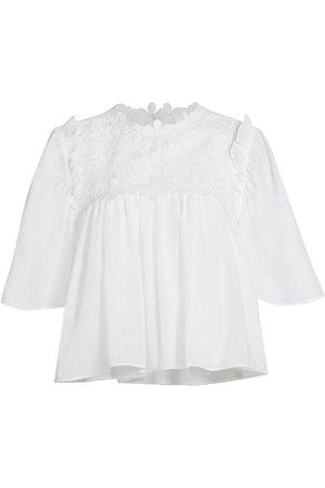 7 for all Mankind Women's Appliquéd Ruffle Linen-Blend Blouse - - Size Small