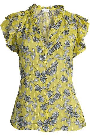 Robert Graham Women Blouses - Women's Thelma Floral Ruffled Blouse - - Size Medium