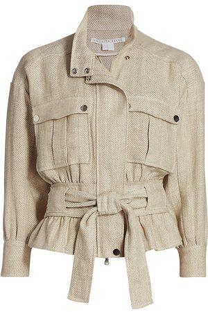VERONICA BEARD Women's York Linen Bomber Jacket - Stone - Size XS
