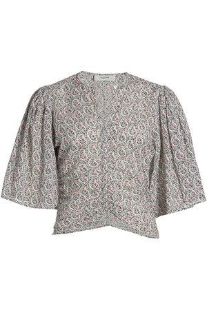 Isabel Marant Women's Mariazo Floral Flutter-Sleeve Blouse - Ecru - Size 2