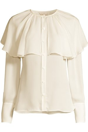 REBECCA TAYLOR Women's Silk Georgette Capelet Blouse - Snow - Size Medium