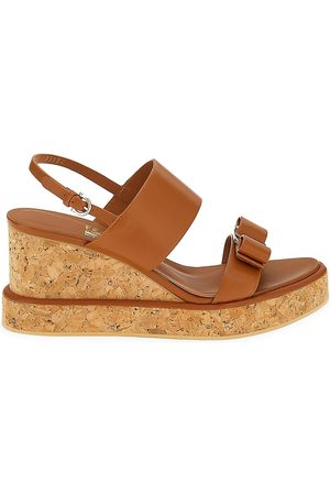 Salvatore Ferragamo Women's Giudith Leather Platform Wedge Sandals - New Vicuna - Size 9.5
