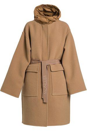 Moncler Women's Fleole Wool Blend Belted Overcoat - Camel - Size Small