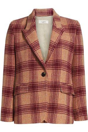 Isabel Marant Women's Kerstin Wool Windowpane Plaid Jacket - Burgundy - Size 4