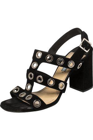 Prada Women Heeled Sandals - Suede Grommet Block Heel Sandals Size 38