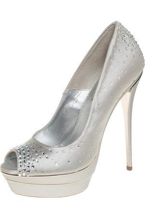 LORIBLU Satin Crystal Embellished Peep Toe Platform Pumps Size 38