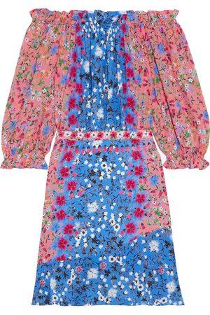 SALONI Woman Grace Off-the-shoulder Floral-print Silk Crepe De Chine Mini Dress Size 8