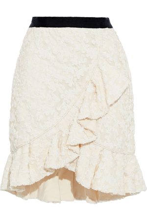 SELF-PORTRAIT Women Mini Skirts - Woman Wrap-effect Sequin-embellished Tulle Mini Skirt Ivory Size 12