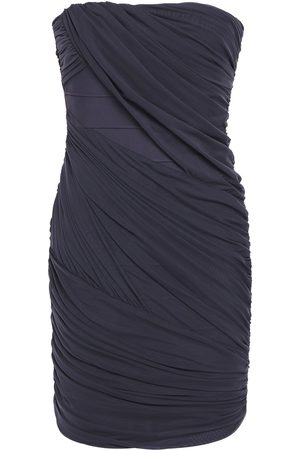 Hervé Léger Women Party Dresses - Hervé Léger Woman Strapless Layered Ruched Tulle And Bandage Mini Dress Storm Size M