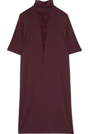 La Perla Women Nightdresses & Shirts - Woman Alida Leavers Lace-trimmed Jersey Turtleneck Nightdress Merlot Size 3
