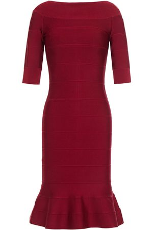 HERVÉ LÉGER Hervé Léger Woman Off-the-shoulder Fluted Bandage Dress Burgundy Size L