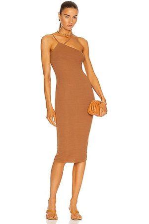 ENZA COSTA For FWRD Silk Rib Strappy Asymmetric Midi Dress in Brown