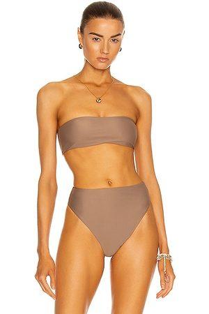 Jade Swim All Around Bandeau Bikini Top in Taupe
