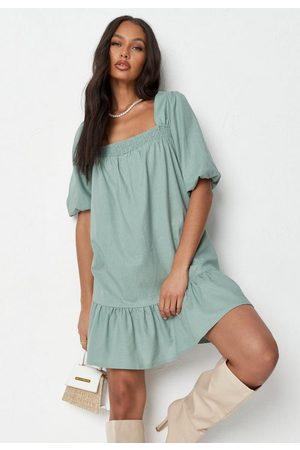 Missguided Linen Look Frill Hem Smock Dress