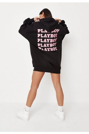 Missguided Playboy X Repeat Print Hoodie Sweater Dress