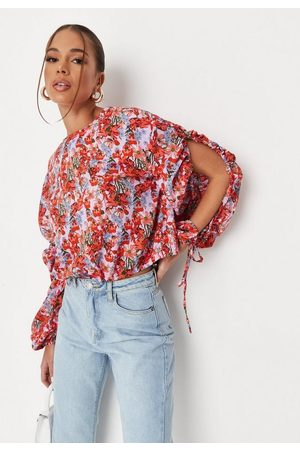 Missguided Purple Floral Print Open Balloon Sleeve Blouse