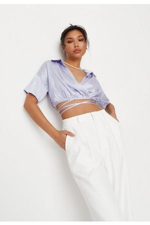 Missguided Lilac Satin Crinkle Wrap Front Shirt