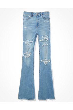 American Eagle Outfitters Ripped Super High-Waisted Flare Jean Women's 2 Long