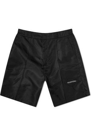 VALENTINO Men Shorts - Flower Patch Logo Nylon Shorts