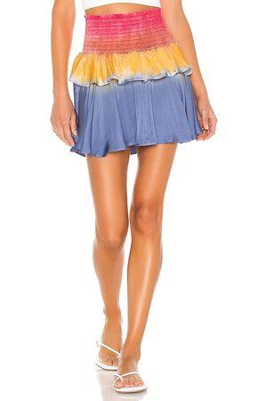 Chaser Silky Basics Smocked Flouncy Tiered Mini Skirt in Blue.