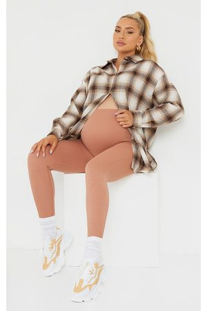 PRETTYLITTLETHING Maternity Taupe Contour Bump Support Ribbed Leggings