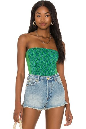 Free People In The Groove Tube Top in Green.