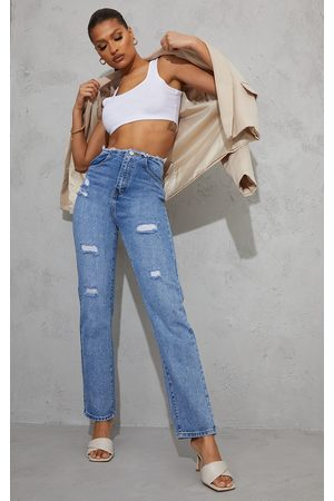 PRETTYLITTLETHING Light Wash Raw Waistband Distressed Long Leg Straight Jeans