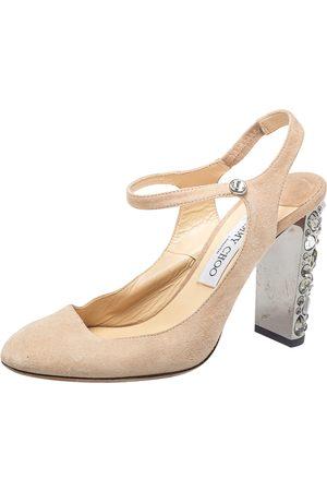 Jimmy Choo Suede Crystal Embellished Heel Meagon Slingback Sandals Size 39