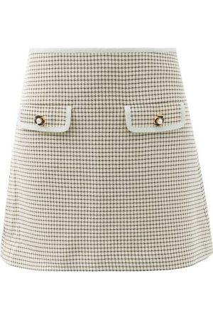 Self-Portrait Portrait - Faux-pearl Button Checked-twill Mini Skirt - Womens - Multi