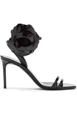 Saint Laurent - Amber Flower-corsage Patent-leather Sandals - Womens