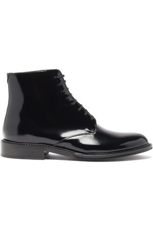 Saint Laurent Army Lace-up Patent-leather Boots - Womens