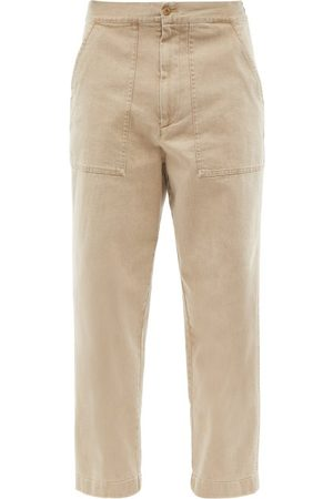 OFFICINE GENERALE Paolo Cropped Cotton-blend Trousers - Mens