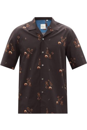 Men Shirts - Paul Smith - Cuban-collar Printed Organic Cotton-poplin Shirt - Mens