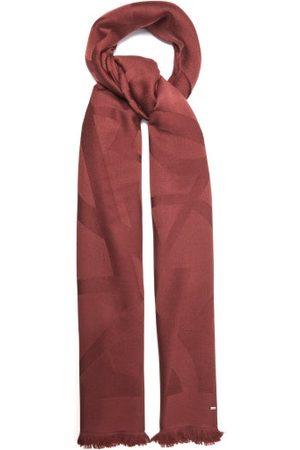 Saint Laurent - Ysl-monogram Fringed Wool Scarf - Womens - Burgundy