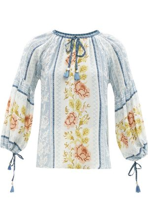 D'Ascoli - Alina Tasselled Floral-print Silk-crepe Blouse - Womens